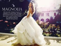 Princess tulle ball gown with horsehair petals. Magnolia by Lauren Elaine.