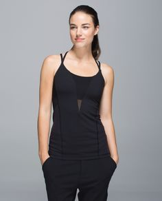 Lululemon Exquisite Tank in black This super-ventilated, strappy tank was made for the sweatiest of Hot practices. A full Mesh back and sweat-wicking fabric helps us stay cool when things really heat up.