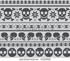 skulls! Halloween Knitting Patterns, Fair Isle Knitting Patterns, Knitting Charts, Knitting Socks, Knitting Stitches, Crochet Chart, Crochet Cross, Cross Stitch Kits, Cross Stitch Skull