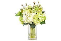 """18"""" Hydrangea & Pears in Vase, Faux"""