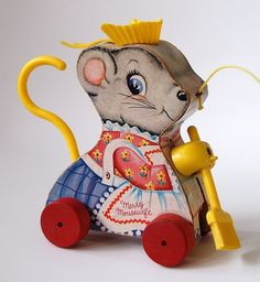 Vintage mid century Fisher Price Merry Mousewife cute wooden Mouse pull toy.
