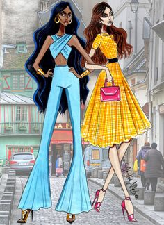 Disney Besties - Jasmine & Belle - by Armand Mehidri Disney Princess Fashion, Disney Style, Disney Fashion, Arte Fashion, Fashion Week, Fashion Design Drawings, Fashion Sketches, Fashion Illustrations, Disney Jasmine