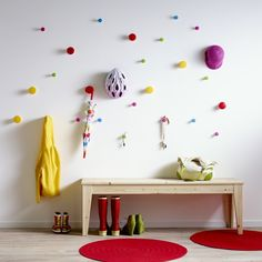 Who says hallways can't be bright and beautiful with the easy addition of some colourful hooks!