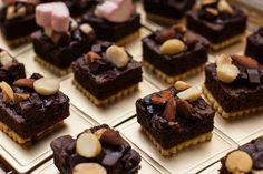 Elegant brownies cake with nuts as topping decoration ready for serving at wedding party or seminar Mini Desserts, Just Desserts, Dessert Recipes, Chocolate Shop, Chocolate Recipes, Boxed Brownie Recipes, Mini Brownies, Patisserie Fine, Party Sweets