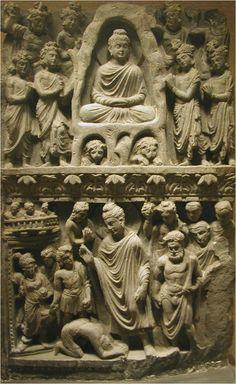 Relief with Buddha Shakyamuni meditating in the Indrashala Cave and Buddha Dipankara, Gandhara C. Buddha Kunst, Buddha Art, Gautama Buddha, Buddha India, Lotus Sutra, Alexandre Le Grand, Madhubani Art, Greek Art, Buddhist Temple