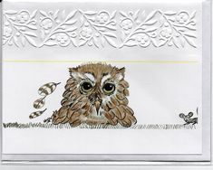 Owl embossed note card with envelope
