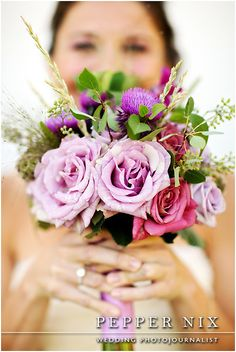 lavender and purple bridal bouquet