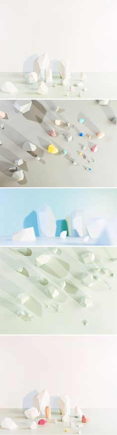 """Icebergs? Pastel-hued boulders? A land made entirely of forgotten bits of chalk? Maybe! Toronto based photographer Evonne Bellefleur envisioned these places, and asked a very talented stylist, Caitlin Doherty, to build these lovely blocks… or bergs or rocks or chalks… for her. The result is a photographic series of very pretty, airy, geometric landscapes"""