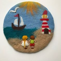 Sommer wool painting with a children at the sea. This tapestry is wet felted and Needle Felted. Average inches Your purchase will be sent within business days. If you need something to be shipped faster, please contact us. We ship from Germany to keep the Wool Needle Felting, Needle Felting Tutorials, Felt Applique, Embroidery Hoop Art, Felted Soap, Felt Gifts, Felt Pictures, Felt Brooch, Felt Art