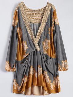 Floral Long Sleeve Surplice Dress 22.99 USD