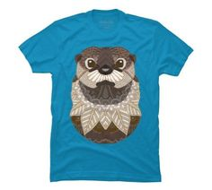 Ornate Otter Men's Small Turquoise Graphic T Shirt - Design By Humans, ...