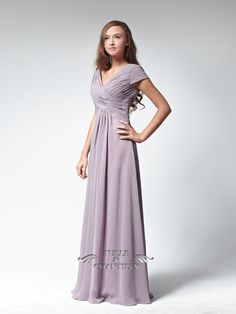Ruched Slim V-neckline Bridesmaid Dress with Cap Sleeves