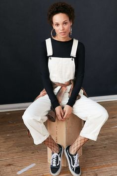 BDG Ryder Boyfriend Overall - Ivory - Urban Outfitters