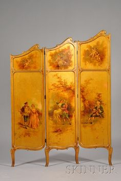 Louis XV Style Polychrome Painted and Gilded Three Panel Floor Screen Antique Furniture For Sale, Antique Interior, Classic Home Furniture, French Furniture, Floor Screen, Dressing Screen, Divider Screen, Decorative Screens, Iron Decor