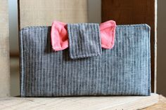 Coral and Grey Pinstripe Bow Wallet-Great for the Dave Ramsey Plan @theruffledstitch