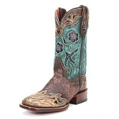 Dan Post Women's Cowgirl Certified Bluebird Square Toe Sanded Cowgirl Boots DS