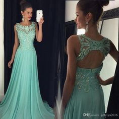 Crystal Long A Line Prom Dresses Scoop Neck Cap Sleeveless With Backless Beads Elegant Chiffon Formal Party Gowns 2016 New Custom Made Cheap Camo Prom Dresses Cheap Prom Dress Websites From Gefeiya2016, $131.66  Dhgate.Com