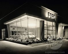 SuperStock - Facade of a car showroom, Ford Automobile Showroom, 1950