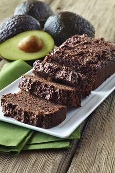 "Gluten-Free Fudgy Avocado Bread Recipe | An incredibly moist chocolate bread loaf, filed with plenty of ""good fats"" courtesy of ripe avocado."