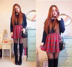 New Look Tartan Skirt, Tk Maxx Navy Crop Sweater, Topshop Mock Croc Bag, Topshop Platform Boots