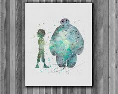 Hiro Hamada and Baymax DISNEY Watercolor Print    Instant Download Printable  You'll receive an 8x10 inch printable INSTANT DOWNLOAD of a