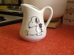 Vintage peanuts Snoopy and Woodstock jug pitcher by Spiffytyrant, $16.00  I want this....