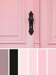 Pink door inspired color palette inspiration, black and pink color pink color palette - Pink Things Black Color Combination, Black Color Palette, Color Schemes Colour Palettes, Pink Palette, Pastel Colour Palette, Colour Pallete, Color Combinations, Color Black, Pink Black