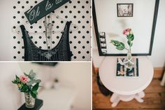 Polka dot wallpaper and pink blush accents