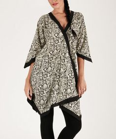 Look what I found on #zulily! Black & White Floral Contrast Tunic #zulilyfinds