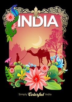 India travel poster illustration