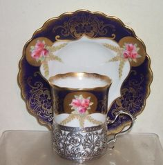 AYNSLEY PINK ROSES COBALT BLUE GILT CUP CAN & SILVER HOLDER | eBay