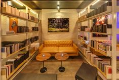Sex in the Stacks: Play Cafe and Lounge in NYC - Remodelista Commercial Interior Design, Commercial Interiors, Lounges In Nyc, Sweet Cafe, Museum Cafe, Coffee Places, Coffee And Books, Cafe Design, Restaurant Design