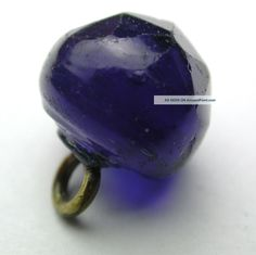 Antique Charmstring Glass Button Faceted Cobalt Ball Swirl Back. 3/8in. circa 1840-1860