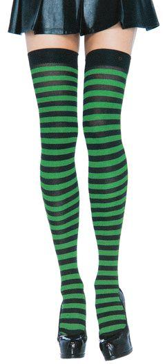 eaf0babc952 Black   green striped nylon thigh highs