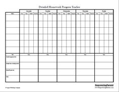 Detailed Homework Chart - This chart is best for adolescents to help them track their progress on several specific homework-related tasks, including using an assignment notebook, turning in work, and bringing home all materials needed for work.