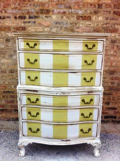 Vintage Distressd Striped Dresser by minthome on Etsy
