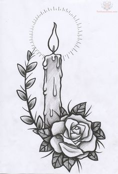 rose-and-candle-light-tattoo.jpg 736×1,084 pixels