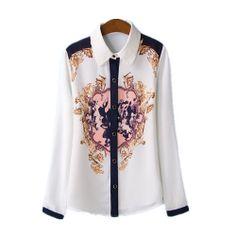 Free shipping 2014 spring new Hot European and American fashion printed chiffon long-sleeved shirt temperament short paragraph $21.99