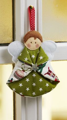 Tree decoration: Sweet angel to sew on - sewing instructions and pattern . - Tree decoration: Sweet angel to sew on – sewing instructions and patterns …, - Diy Christmas Angel Ornaments, Felt Christmas Decorations, Homemade Christmas, Christmas Angels, Christmas Crafts, Rustic Christmas, Tree Decorations, Christmas Patchwork, Christmas Sewing