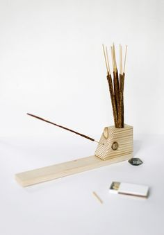 DIY Incense Holder Great scrap wood project & if you have a steady hand you don't rally need a Band saw to cut you bits. Tip: drill that small hole before you cut the diagonal slope on the end block it makes it a bit easier ;