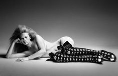 Anna Ewers has an impish pout & wears couture like a doll queen! This creamy black & white Patrick Demarchelier spread from the fantastic September issue of Interview magazine is a delight.