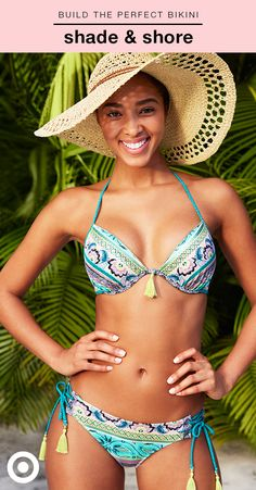 Whether you want to lounge in the cabana or relax on the beach, Shade & Shore's bra-size swimwear has the perfect bikini. This paisley-print bikini with tassel details features the Shore Light Lift Halter top with ties at the neck and back (sizes 32A-38DD), and the Sun Coast Cheeky bottom with ties on the side (sizes XS-XL). Find the entire collection, plus get free shipping & returns on Target.com.