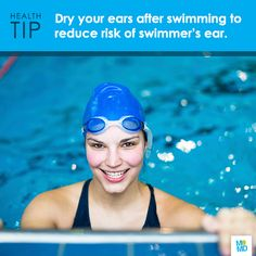 #TipTuesday: Dry ears thoroughly with a towel after swimming or bathing. Swimmer's ear (also known as otitis externa) can occur when water stays in the ear canal for long periods of time - creating a perfect environment for germs to grow and infect the skin!  Symptoms of swimmer's ear include: • Itchiness inside the ear. • Redness & swelling of the ear. • Pain when the infected ear is tugged. • Pus draining from infected ear  If you think you have swimmer's ear, consult a doctor.