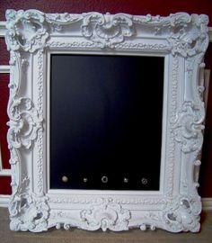 Gorgeous Extremely Ornate, Vintage Inspired 30 x 37 White Magnetic Chalk Board- Wedding Escort Board, Menu Board, Bedroom or Nursery. $199.00, via Etsy.