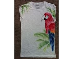 White t-shirt with a handmade red parrot print
