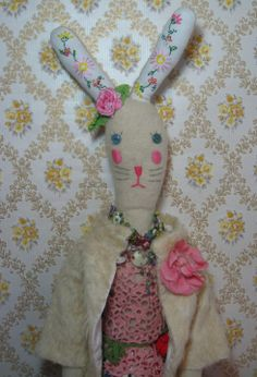 The Colourful World of Sasha Applique Skirt, Bunny Toys, Softies, Vintage Dolls, Pretty In Pink, Vintage Inspired, Embroidery, Christmas Ornaments, My Favorite Things