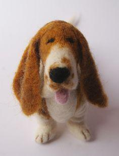 hahaha needle felted basset hound- oh i love this!