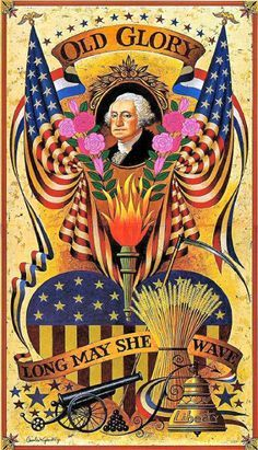 Old Glory vintage patriotic postcard with George Washington and pink roses I Love America, God Bless America, American History, American Flag, American Pride, American Quotes, American Spirit, Patriotic Images, Patriotic Posters