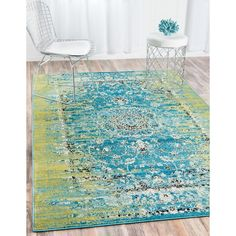 Neuilly Blue/Green Area Rug in 2019 HopeYouthROC Area rugs green color area rugs - Green Things Floral Area Rugs, Blue Area Rugs, Green Colors, Blue Green, Yellow Black, Bedroom Turquoise, Classic Rugs, Online Home Decor Stores, Furniture Decor
