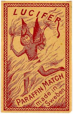 """Vintage matchbox labels featuring the Devil. In Dutch, matches are called """"lucifers"""". Posters Vintage, Retro Poster, Vintage Labels, Vintage Prints, Vintage Ads, Vintage Designs, Vintage Graphic Design, Arte Peculiar, Vintage Fireworks"""